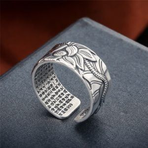 Sterling Silver Lotus Ring with Heart Sutra 8