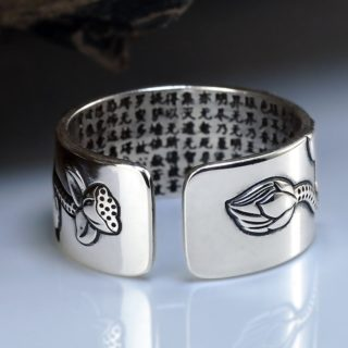 Sterling Silver Lotus Ring with Heart Sutra 2