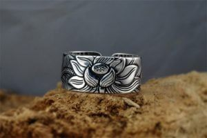 Sterling Silver Lotus Ring with Heart Sutra 11