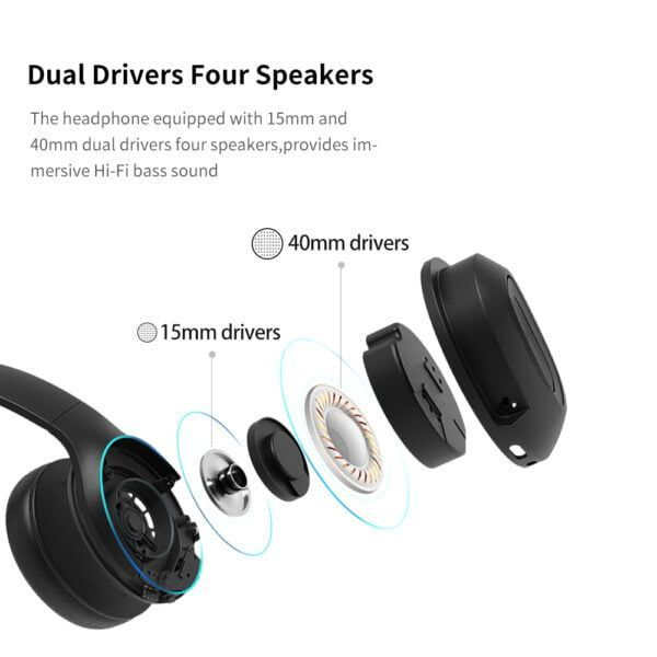 Dacom Dual Drivers Over Ear Noise Cancelling Mobile Headphones Super Bass Wireless Wired Headphone 5.0 Bluetooth Earphone Mic 5