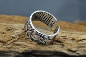 Sterling Silver Lotus Ring with Heart Sutra 12