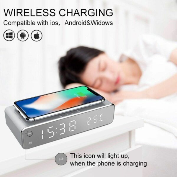 LED Alarm Clock Qi Wireless Charger 1