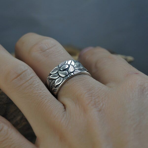 Sterling Silver Lotus Ring with Heart Sutra 4