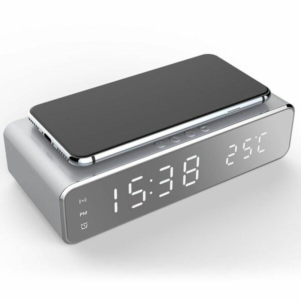 LED Alarm Clock Qi Wireless Charger 4