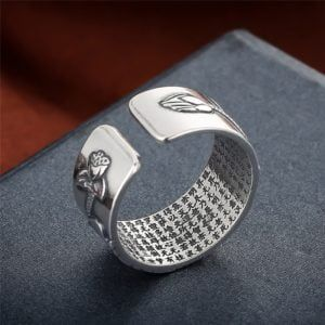 Sterling Silver Lotus Ring with Heart Sutra 9