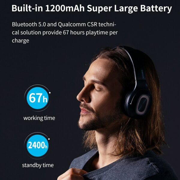 Dacom Dual Drivers Over Ear Noise Cancelling Mobile Headphones Super Bass Wireless Wired Headphone 5.0 Bluetooth Earphone Mic 2