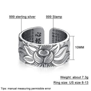 Sterling Silver Lotus Ring with Heart Sutra 7