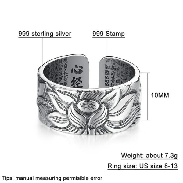 Sterling Silver Lotus Ring with Heart Sutra 5