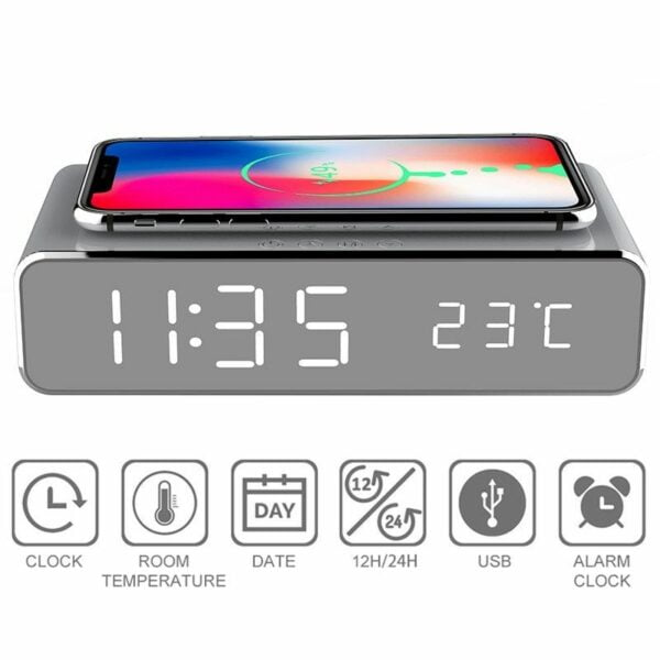 LED Alarm Clock Qi Wireless Charger 2