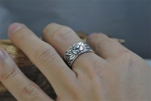 Sterling Silver Lotus Ring with Heart Sutra 13