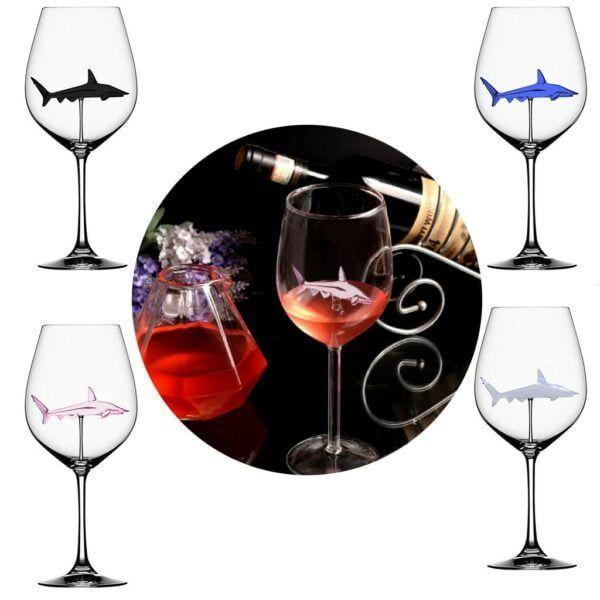 Crystal Shark Wine Glass 1